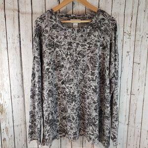 Liz Claiborne blk white floral blouse top sz XL 0A